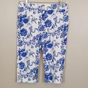 Counterparts ~ Blue & White Floral Capris